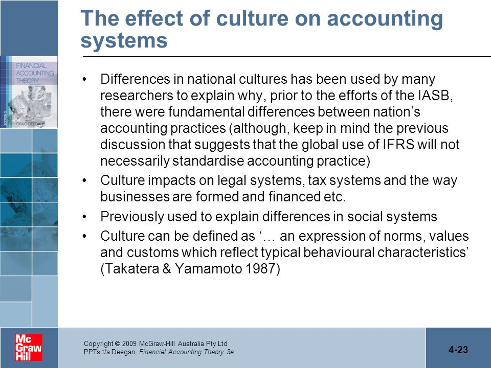 The effect of culture on accounting systems