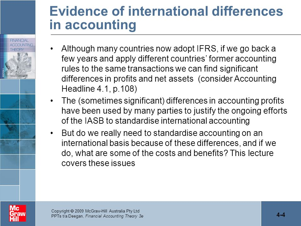 Evidence of international differences in accounting