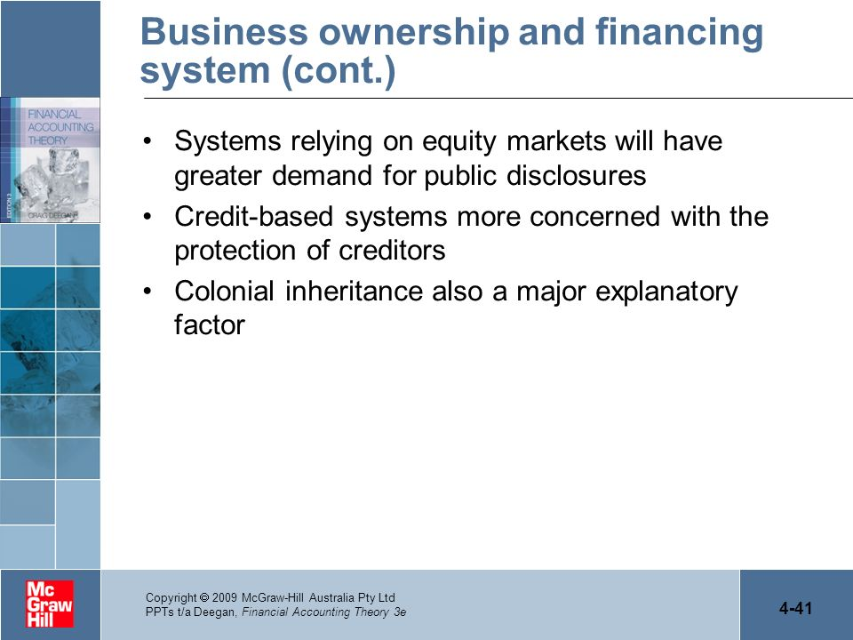 Business ownership and financing system (cont.)
