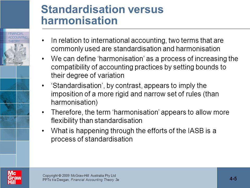 Standardisation versus harmonisation
