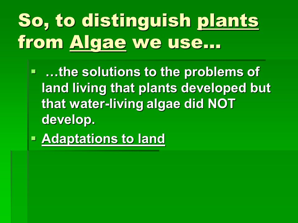 So, to distinguish plants from Algae we use…