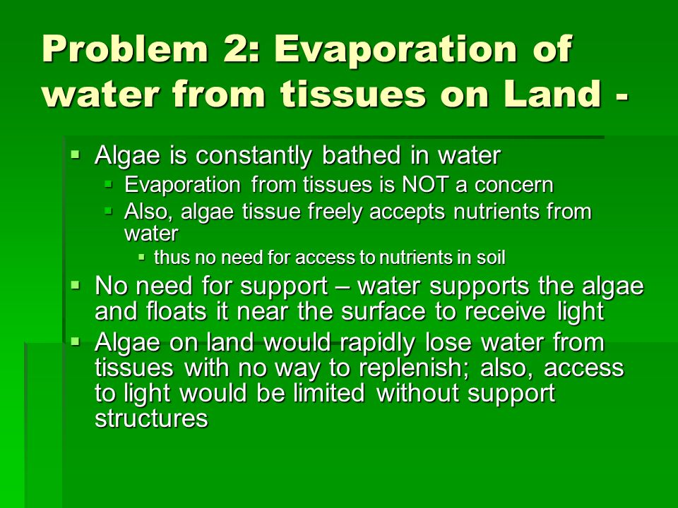 Problem 2: Evaporation of water from tissues on Land -