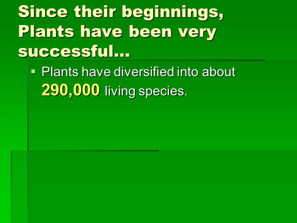 Since their beginnings, Plants have been very successful…
