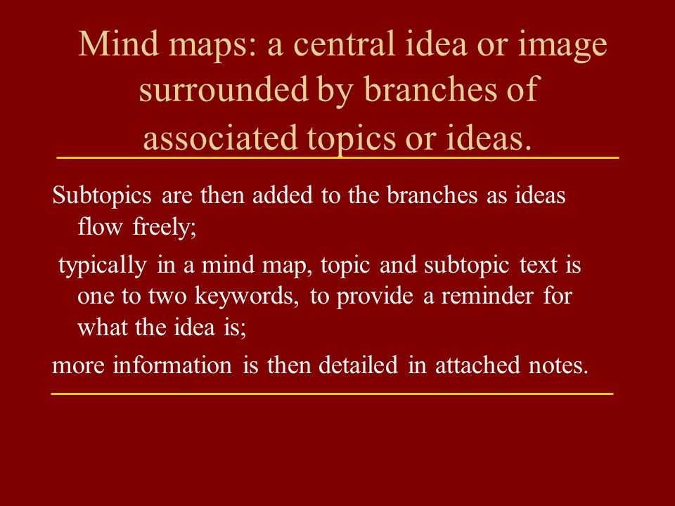Mind maps: a central idea or image surrounded by branches of associated topics or ideas.