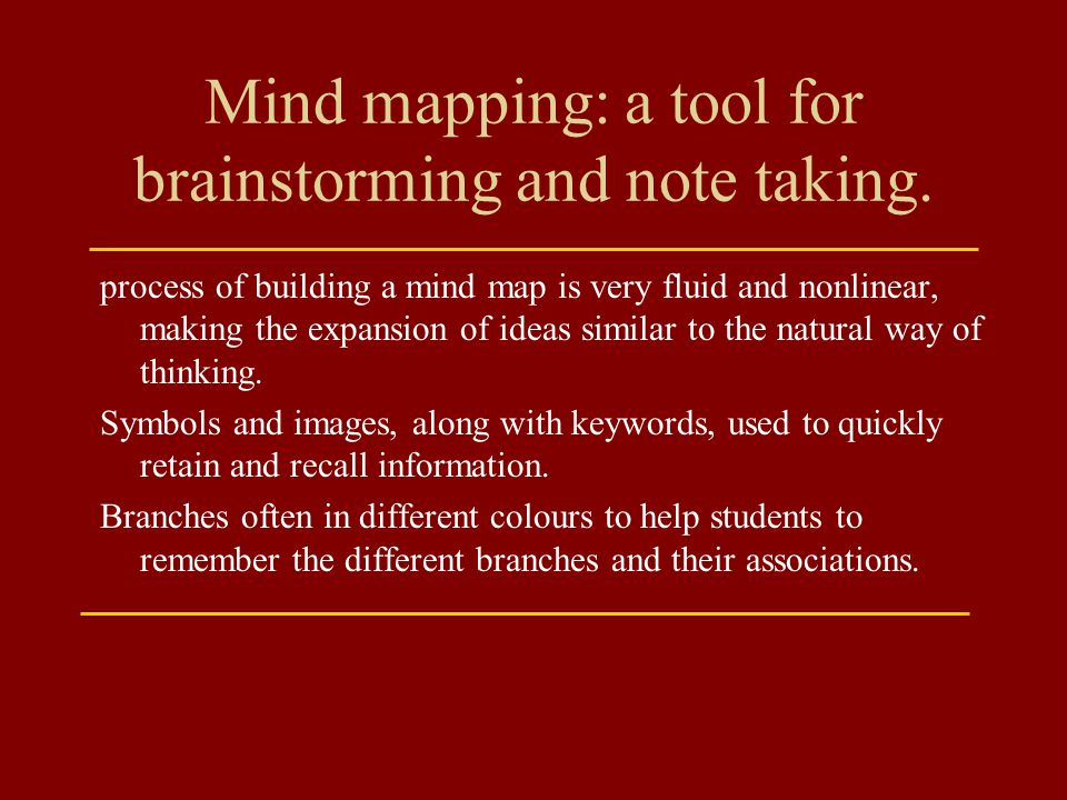 Mind mapping: a tool for brainstorming and note taking.