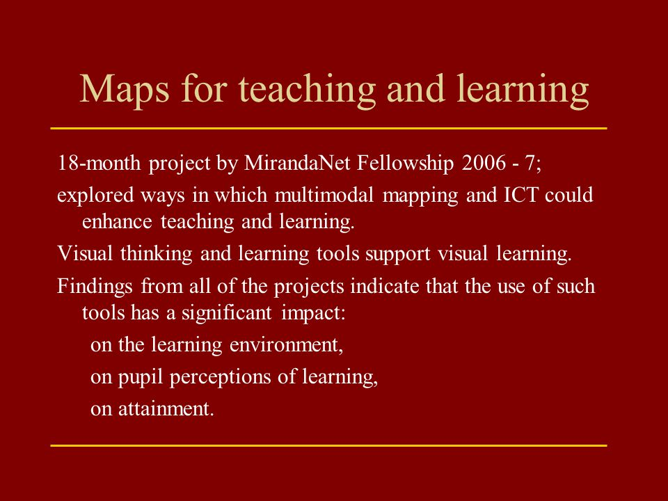 Maps for teaching and learning