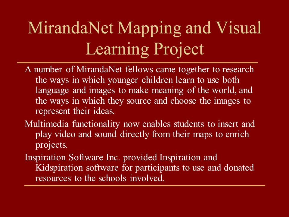 MirandaNet Mapping and Visual Learning Project