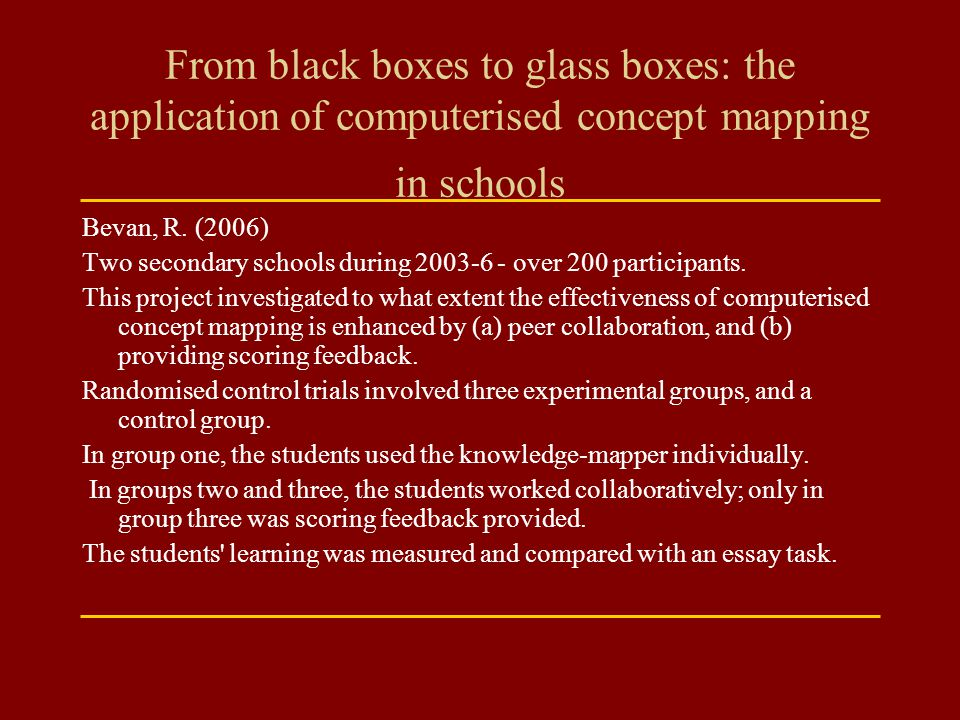 From black boxes to glass boxes: the application of computerised concept mapping in schools
