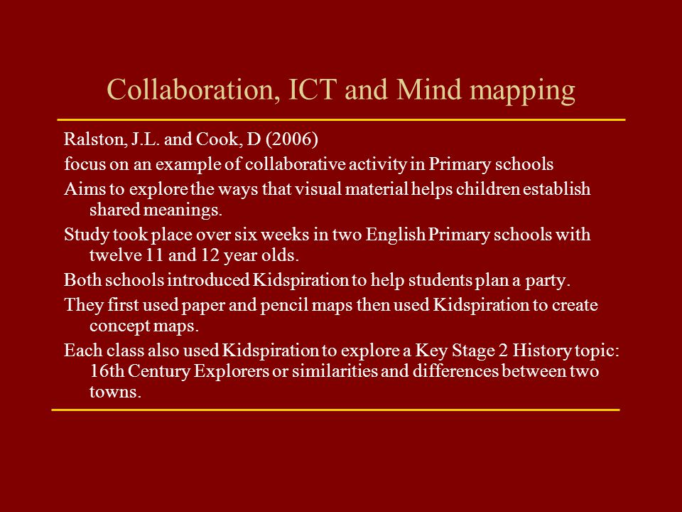Collaboration, ICT and Mind mapping