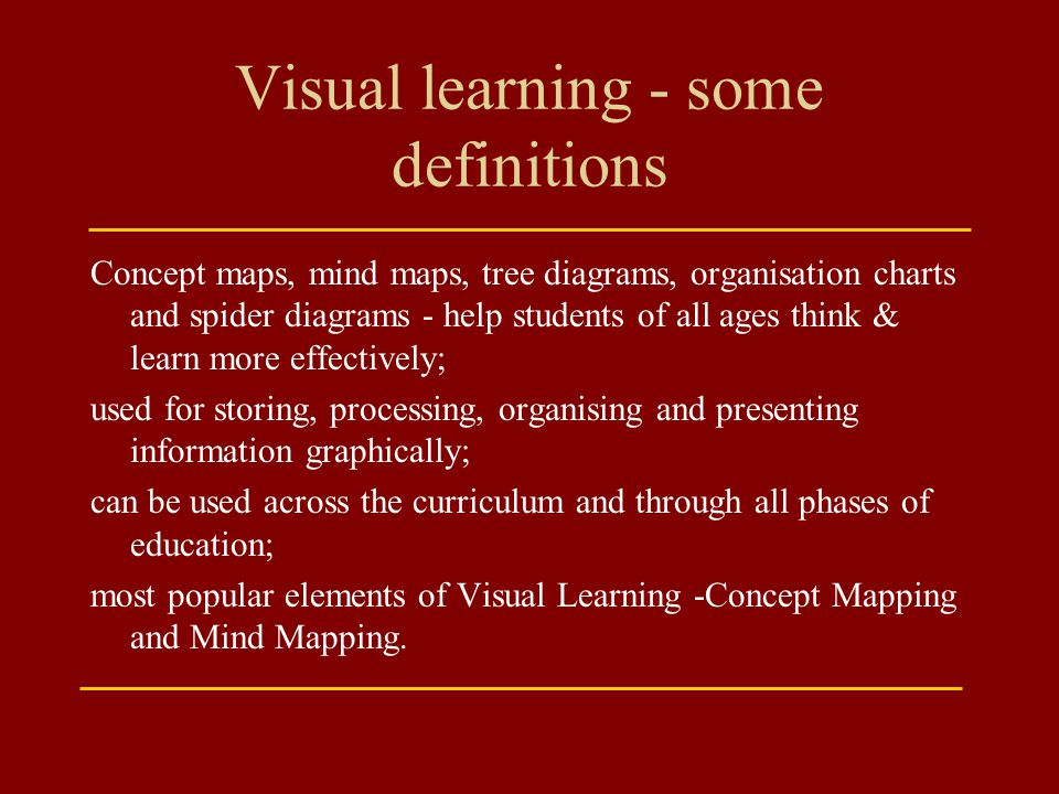 Visual learning - some definitions
