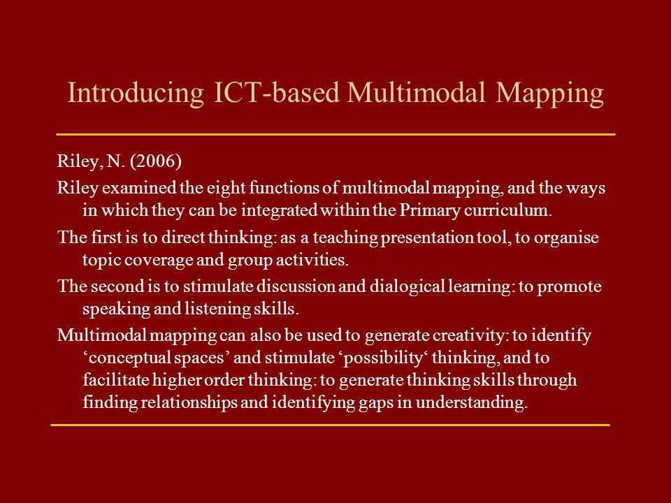 Introducing ICT-based Multimodal Mapping