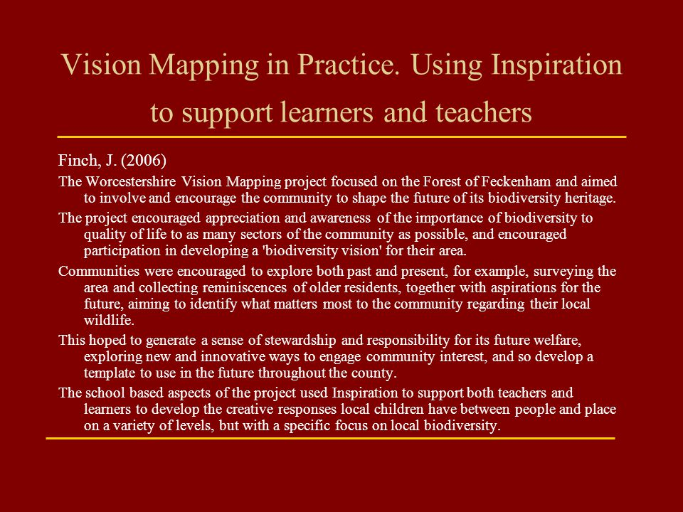 Vision Mapping in Practice