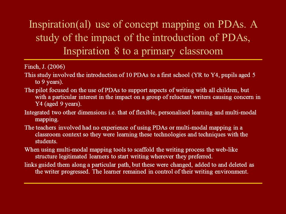 Inspiration(al) use of concept mapping on PDAs