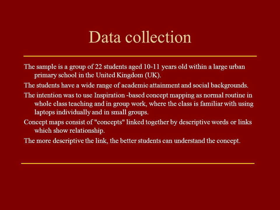 Data collection The sample is a group of 22 students aged years old within a large urban primary school in the United Kingdom (UK).