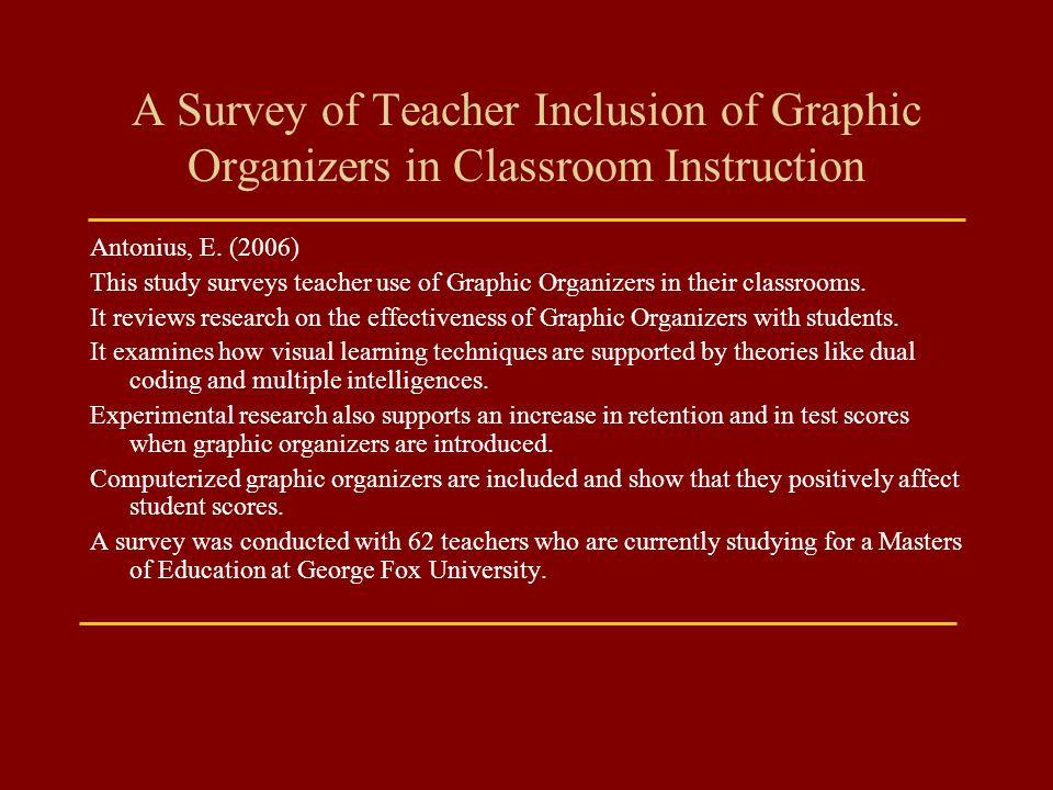 A Survey of Teacher Inclusion of Graphic Organizers in Classroom Instruction