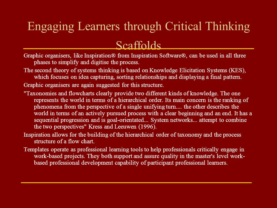 Engaging Learners through Critical Thinking Scaffolds