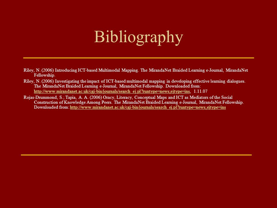 Bibliography Riley, N. (2006) Introducing ICT-based Multimodal Mapping. The MirandaNet Braided Learning e-Journal, MirandaNet Fellowship.