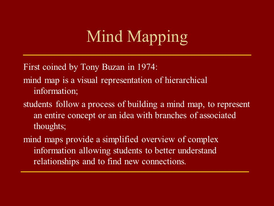 Mind Mapping First coined by Tony Buzan in 1974:
