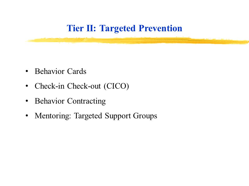 Tier II: Targeted Prevention