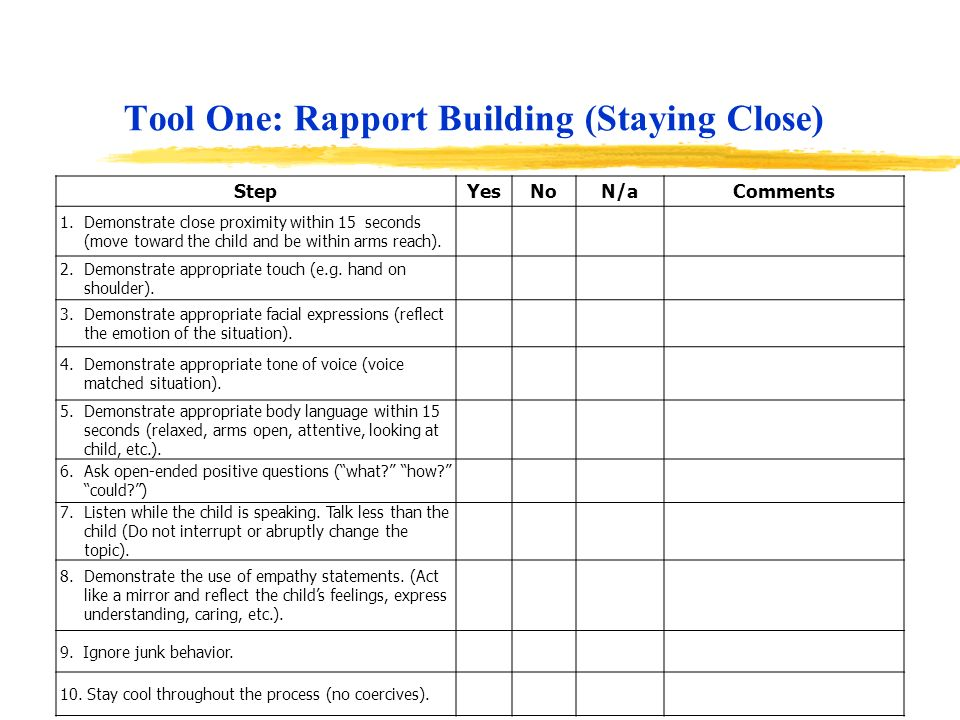Tool One: Rapport Building (Staying Close)