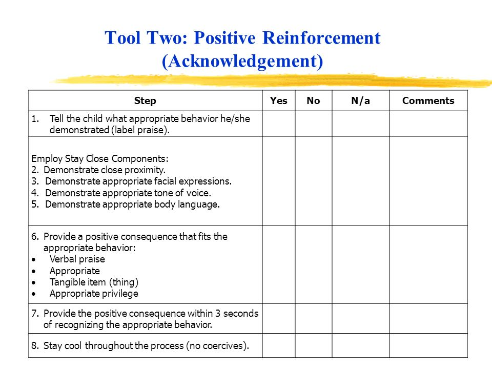 Tool Two: Positive Reinforcement (Acknowledgement)