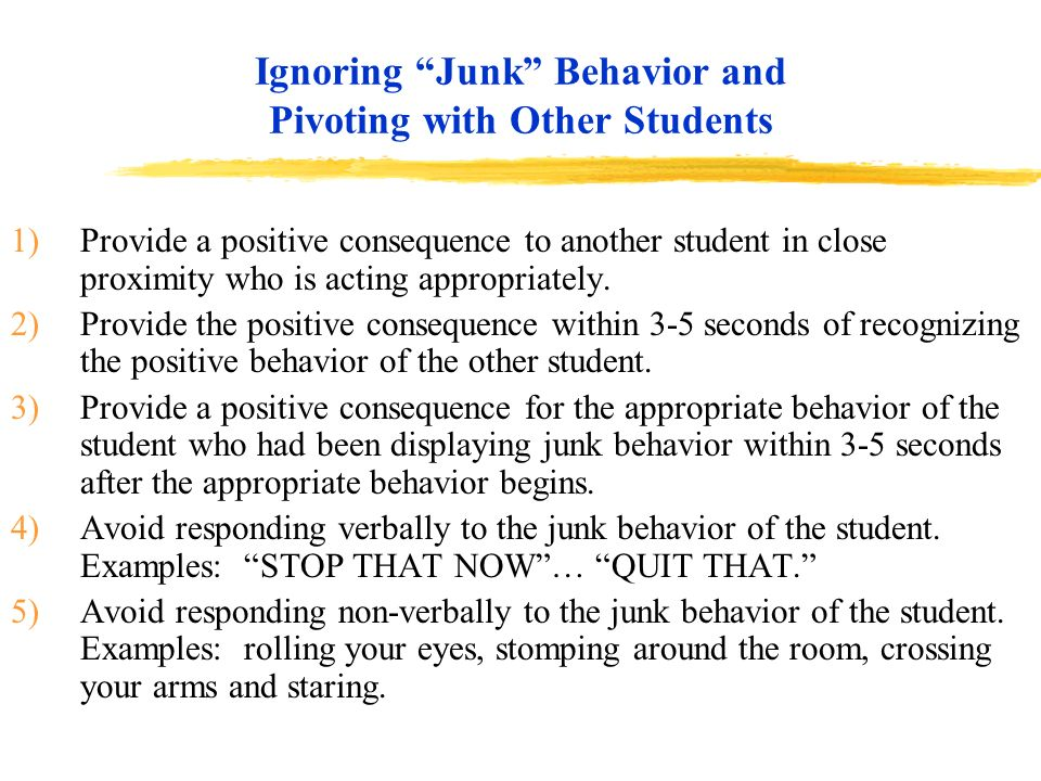 Ignoring Junk Behavior and Pivoting with Other Students