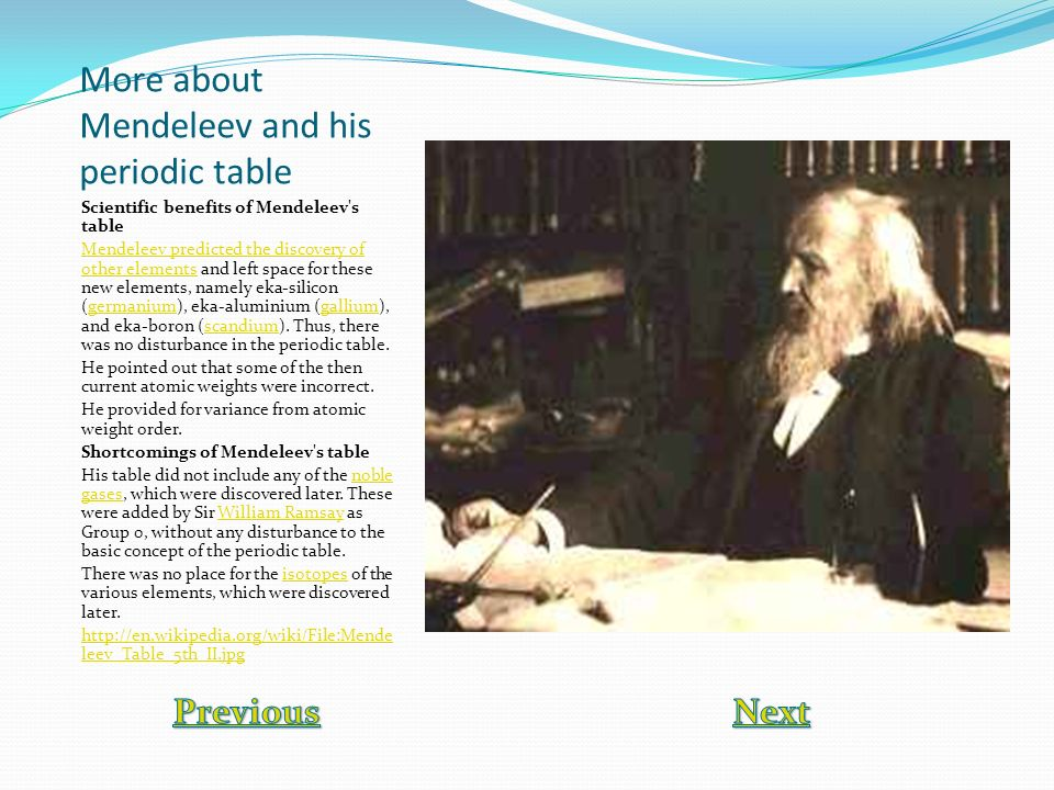 More about Mendeleev and his periodic table