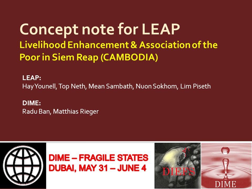 Concept note for LEAP Livelihood Enhancement & Association of the Poor in Siem Reap (CAMBODIA)