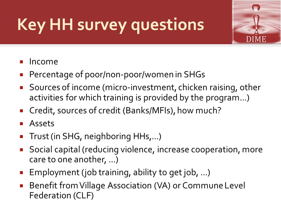 Key HH survey questions
