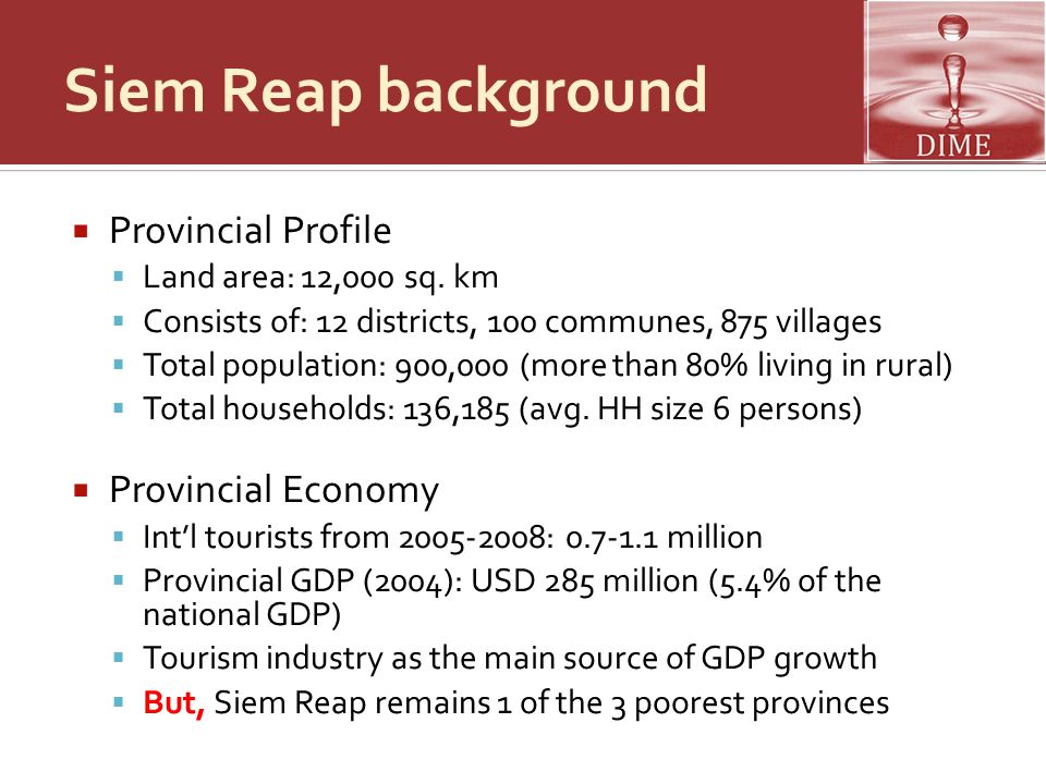 Siem Reap background Provincial Profile Provincial Economy