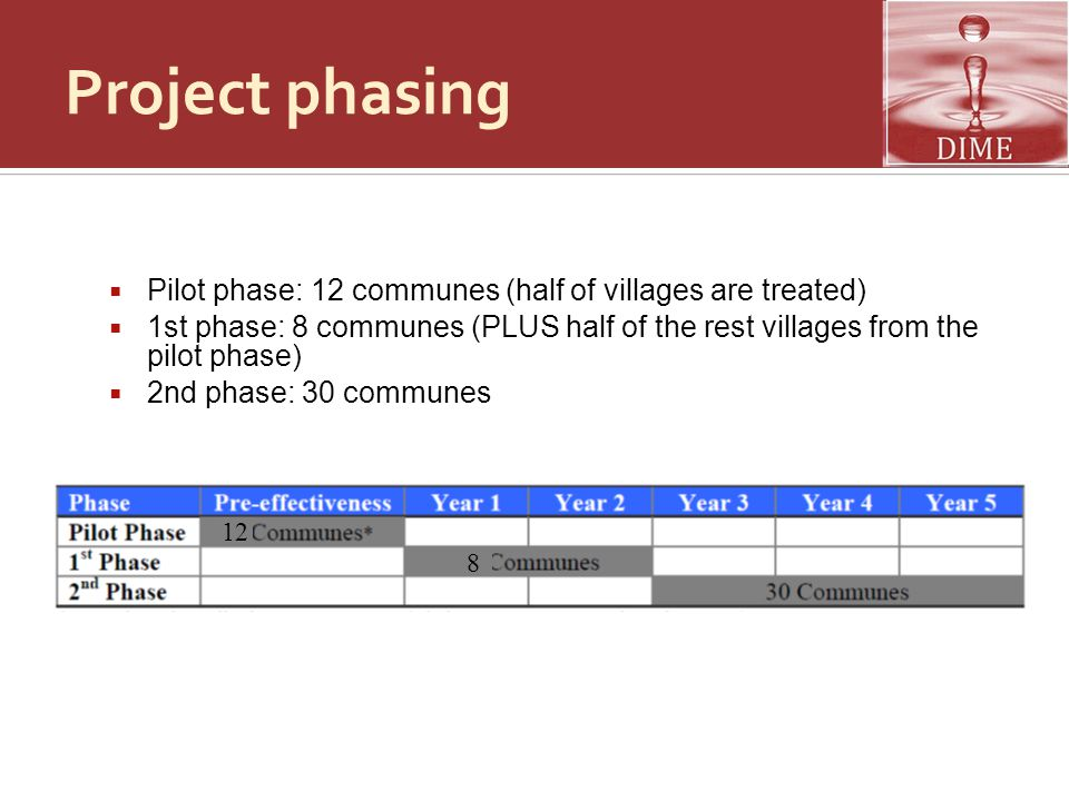 Project phasing Pilot phase: 12 communes (half of villages are treated) 1st phase: 8 communes (PLUS half of the rest villages from the pilot phase)