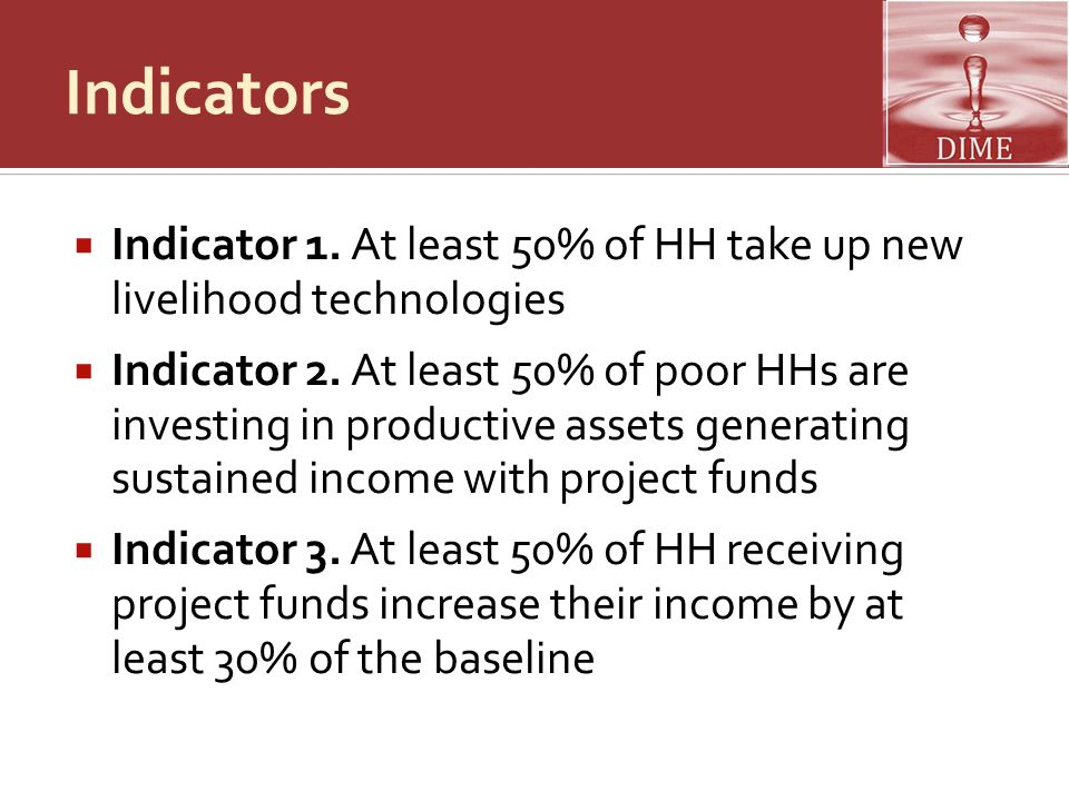 Indicators Indicator 1. At least 50% of HH take up new livelihood technologies.
