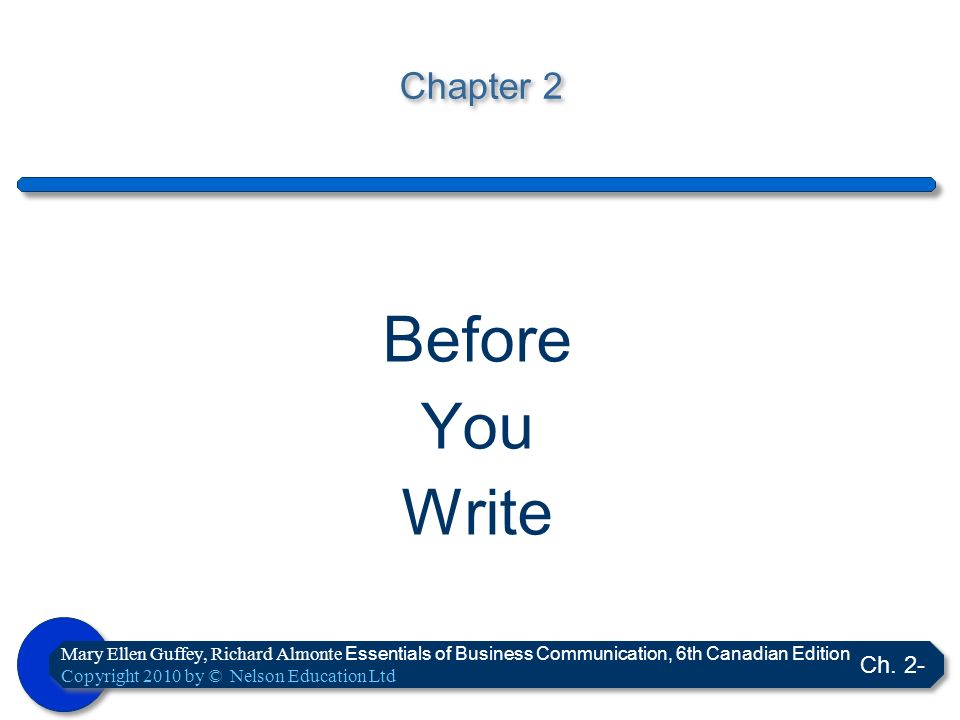 Before You Write Chapter 2 Ch. 2-
