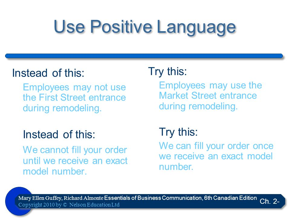 Use Positive Language Instead of this: Try this: