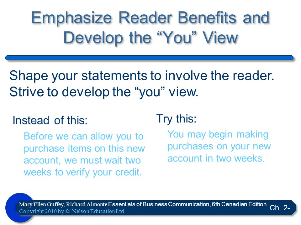 Emphasize Reader Benefits and Develop the You View