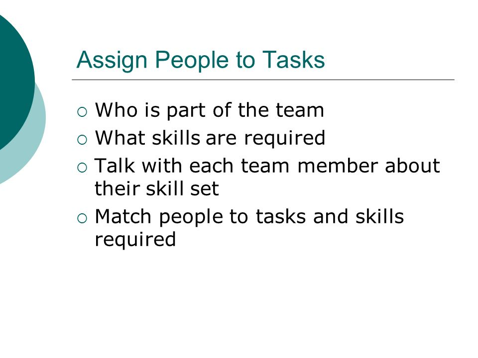 Assign People to Tasks Who is part of the team
