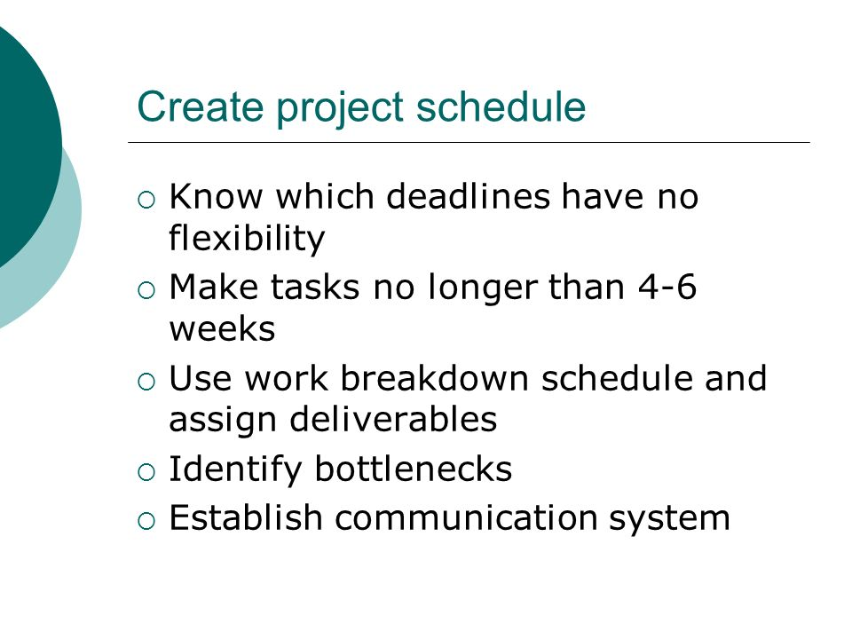 Create project schedule