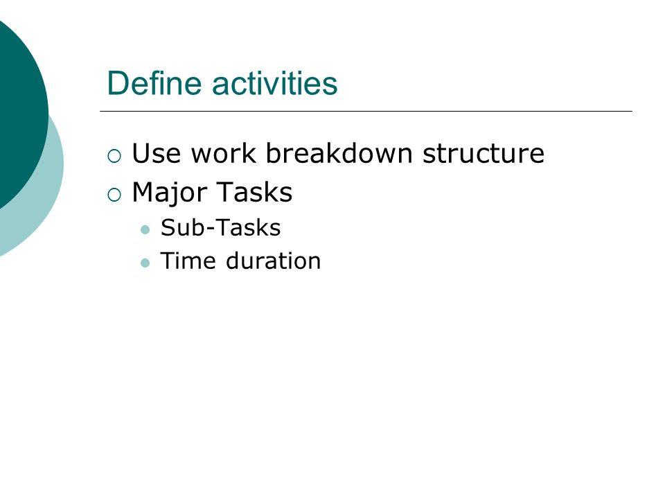 Define activities Use work breakdown structure Major Tasks Sub-Tasks