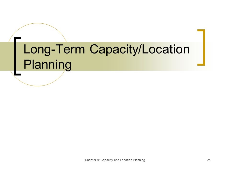 Long-Term Capacity/Location Planning