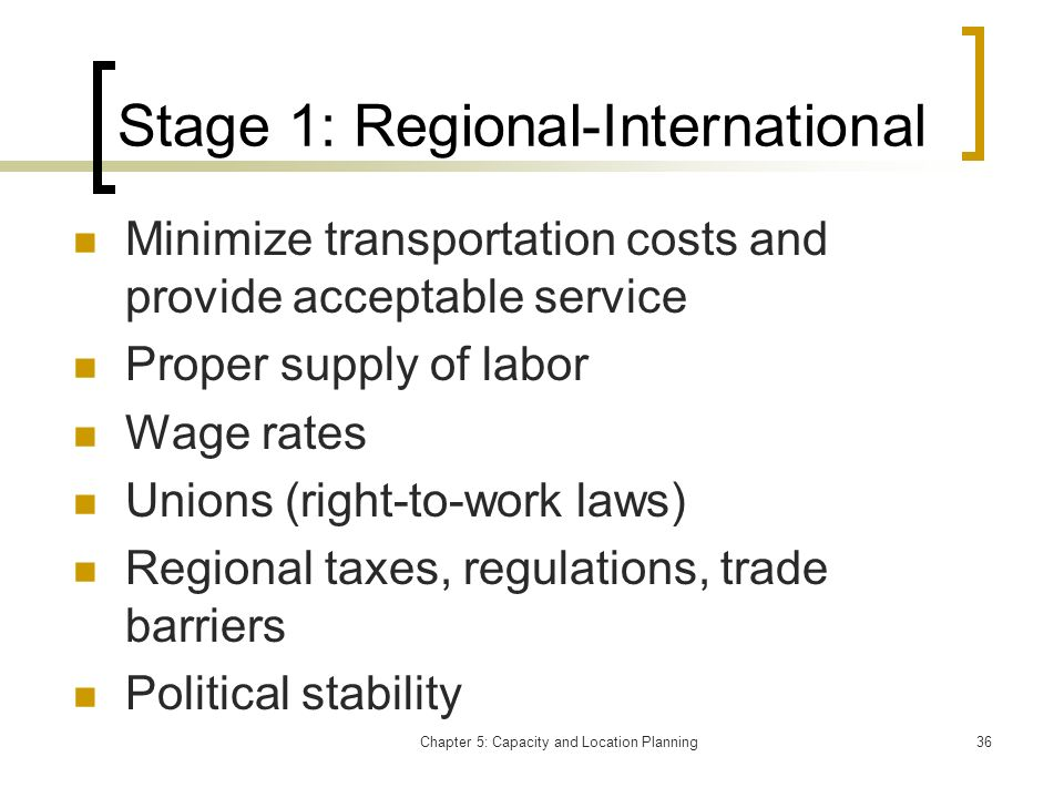 Stage 1: Regional-International