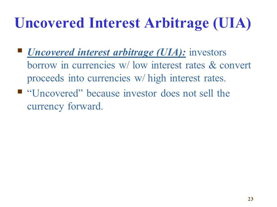 Uncovered Interest Arbitrage (UIA)
