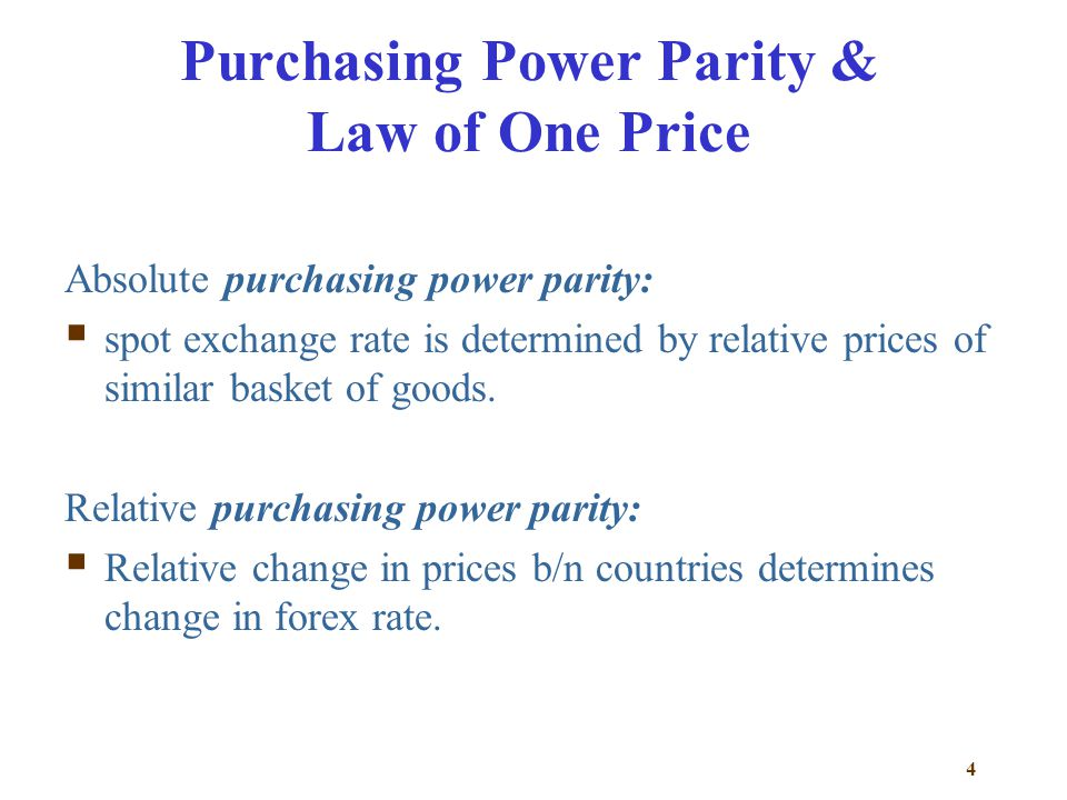 Purchasing Power Parity & Law of One Price