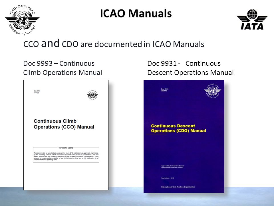 ICAO Manuals CCO and CDO are documented in ICAO Manuals