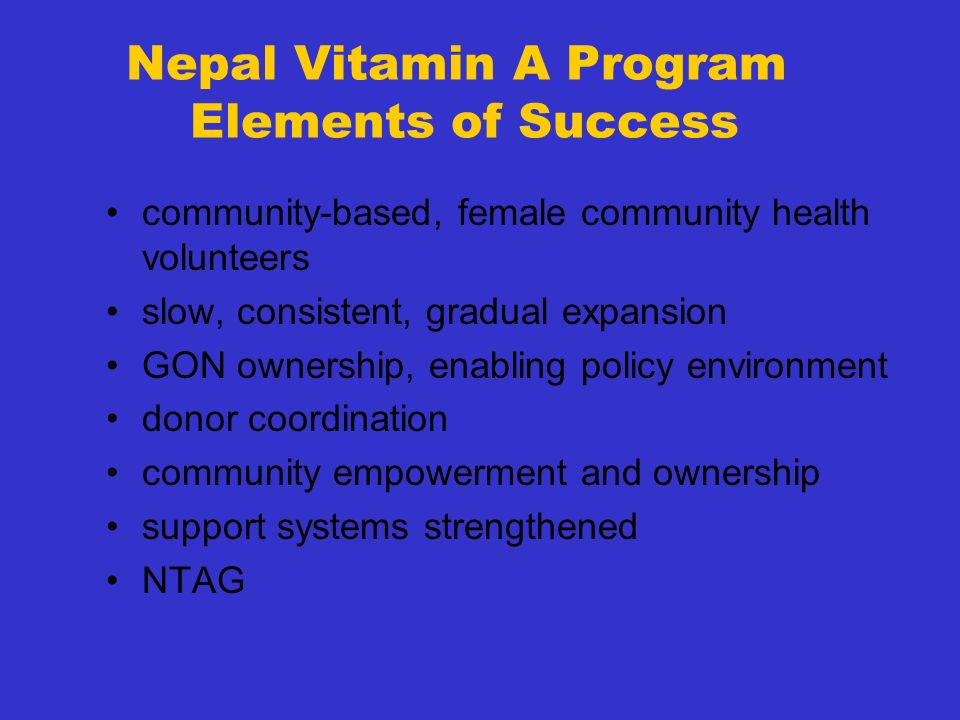 Nepal Vitamin A Program Elements of Success
