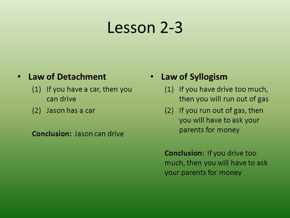 Lesson 2-3 Law of Detachment Law of Syllogism