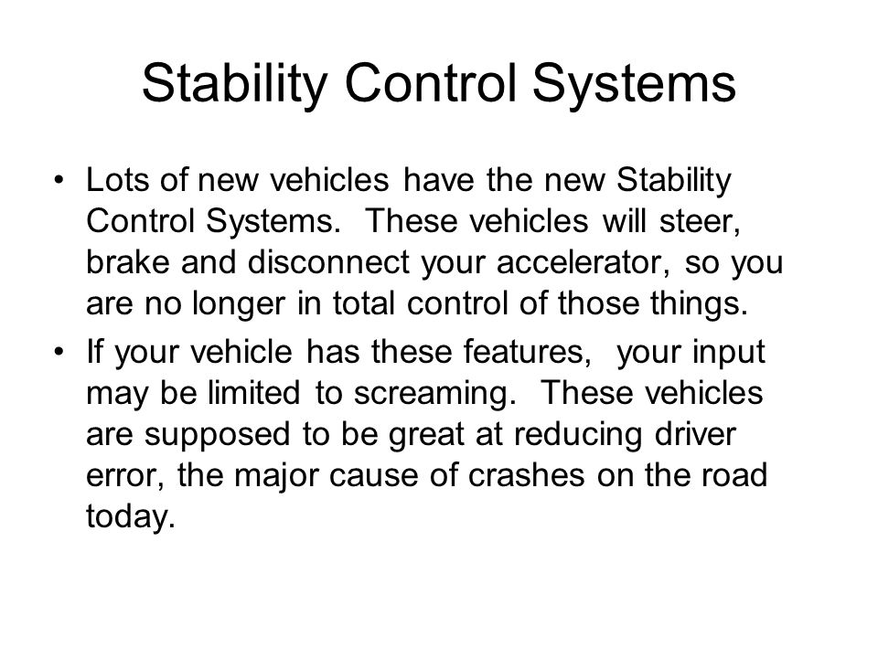Stability Control Systems
