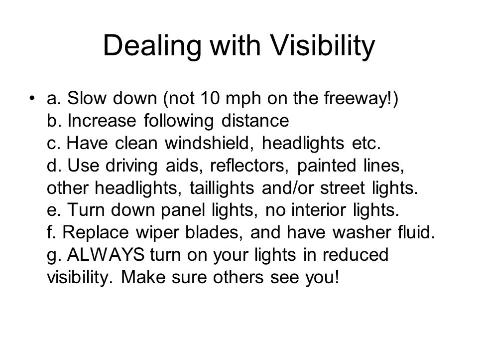 Dealing with Visibility