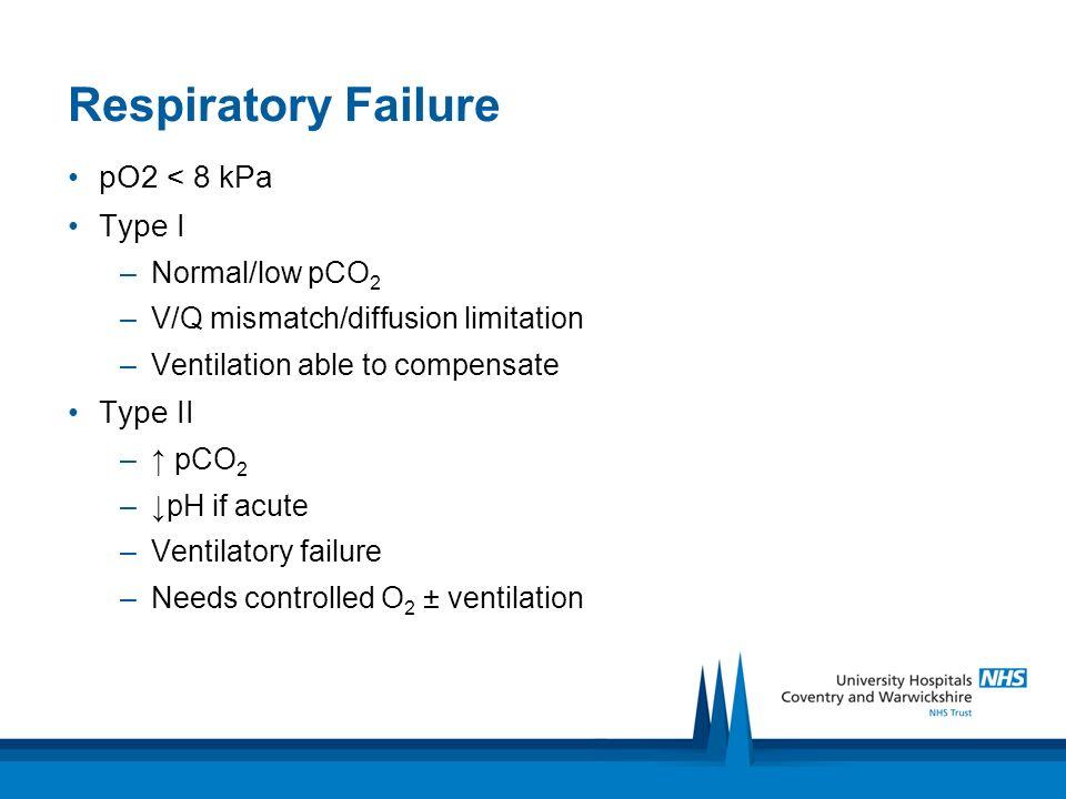 Respiratory Failure pO2 < 8 kPa Type I Type II Normal/low pCO2