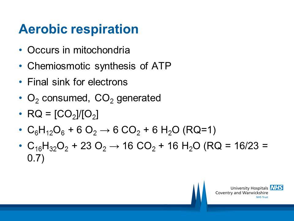 Aerobic respiration Occurs in mitochondria