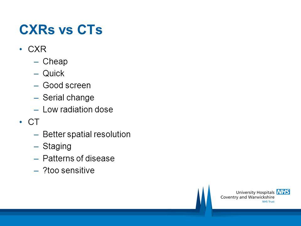 CXRs vs CTs CXR CT Cheap Quick Good screen Serial change